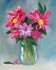 Fine Art by Rebecca Croft Original Impressionist Oil Painting Spring Flowers Still Life