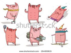 Find Sport Pigs Set stock images in HD and millions of other royalty-free stock photos, illustrations and vectors in the Shutterstock collection. Thousands of new, high-quality pictures added every day. Pig Character, Character Design, Pig Illustration, Illustrations, Crochet Pig, New Year's Crafts, Christmas Tree Toy, Animals Of The World, Christmas Pictures