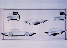 Maserati Khamsin, 1972 - Preparatory sketches of the Maserati Khamsin by the design studio of Carrozzeria Bertone