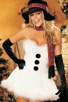 Have a very sexy Christmas! We have a tremendous variety of sexy Christmas party costumes, and holiday lingerie sets that will heat up the winter holidays! Sexy Christmas Outfit, White Christmas Dress, Christmas Christmas, Christmas Scenes, Retro Christmas, Best Friend Halloween Costumes, Christmas Costumes, Easy Halloween, Halloween Party