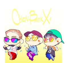 The reservoir idols Exo Cbx The One, Baekhyun, Chen, Exo Anime, Exo Fan Art, Bts And Exo, Cute Chibi, Kpop Fanart, Kpop Groups