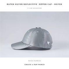 700942e54497e HATer Silver Reflective Zipper Cap Leather Fashion