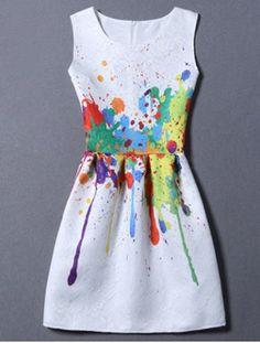 Sweet Colorful Print Round Neck Women's Dress Print Dresses | RoseGal.com Mobile