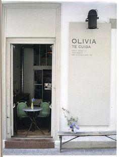 olivia te cuida // restaurant in madrid - kitchen - Travel & Restaurants Cafe Design, Sign Design, Store Design, Front Design, Cafe Interior, Interior And Exterior, Coffee Shop, Café Bistro, Shop Facade