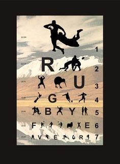 Eye chart for rugby fever Rugby League, Rugby Players, Rugby Rules, Rugby Sport, Rugby Gear, Volleyball Gear, Womens Rugby, All Blacks Rugby, New Zealand Rugby