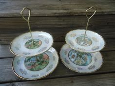 Currier and Ives Two Tier Tidbit Tray by Catsandclover on Etsy