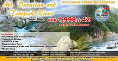 EXCLUSIVE TREKKING PACKAGE, MT DARAITAN AND TINIPAK RIVER, RIZAL, PHILIPPINES, P1,998 ($42)/PERSON, SEE INCLUSIONS.