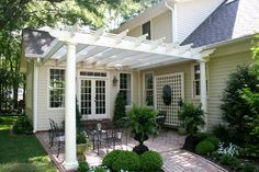 The pergola kits are the easiest and quickest way to build a garden pergola. There are lots of do it yourself pergola kits available to you so that anyone could easily put them together to construct a new structure at their backyard. Outdoor Decor, Outdoor Rooms, House Exterior, Brick Patios, Front Patio, Pergola Plans