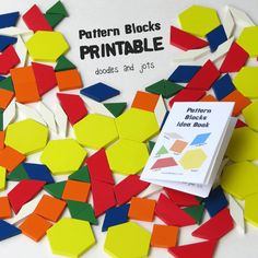 Free Printable Mini Idea Book for Pattern Blocks Do you have pattern blocks? They are pretty fun and have loads of educational potential. If you want to get a set here is an affiliate link to a nice 250 piece wooden set from Learning Resources through Amazon (thanks for supporting Doodles and Jots). If you already have a set but maybe haven't played with it in a while I created a printable booklet to help renew your interest. I am hoping it will renew my own kids' interest! In the boo...