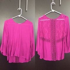 Purple top Cute and flattering. Open back//see through// size large (fits medium) very flowy and light weight☀️ excellent condition!!!! It was a gift from a friend Chloe K Tops Tees - Long Sleeve