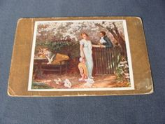 Here is a vintage postcard featuring a lady and man in a romantic situation complete with doves.  The postcard has been used.  There is some wear aging and discolorations to the card.  The corners are creased/bumped.   This item ships free to anywhere in the United States.  ~ Please contact me for shipping costs to anywhere outside of the United States.
