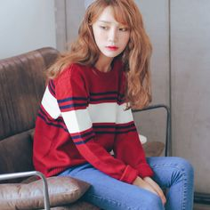 O Neck Loose Striped Sweater http://koreanfashionworld.com/product/o-neck-loose-striped-sweater http://koreanfashionworld.com