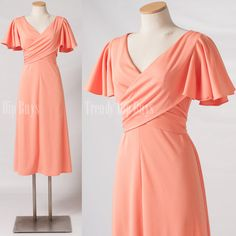 Vintage 70s Dress Romantic Peach Orange sash wrap dress by TrendyHipBuysVintage, $64.00