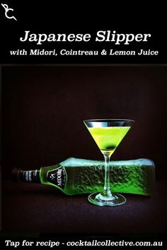 Japanese Slipper may be an drink with Midori, Cointreau and Lemon Juice, but this sweet and sour cocktail has some serious tang. Midori Cocktails, Cointreau Cocktails, Sour Cocktail, Cocktail Recipes, Sour Drink, Martini, Punch, Lemon, Slippers