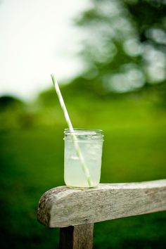 A glass of lemonade on a hot summer day.