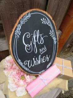 Gift Table Chalkboard Sign, Guest Book Instructions - Customizable Wood Slice Chalkboard Sign on Etsy, $25.00