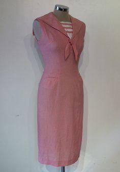 "Best original 1950s cotton gingham sailor wiggle dress bust 34"" Bobbie Brooks on Etsy, $216.75 AUD"