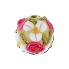 15mm Round Glass Lampwork bead with White and Pink Flowers