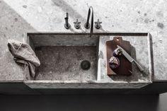 Stone integrated sink, worktop edge
