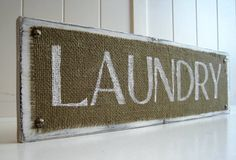 Laundry Room Wood Sign Plaque Burlap White Distressed par TradeFare, $20.00