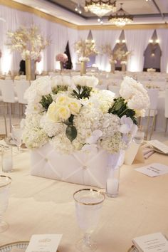 Empty Vase Events   White Wedding with International Event Company- custom tufted boxes