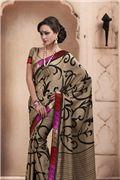 Ethnic Bige Brown Embroidered Saree -  pichkaree.com Ethnic, Sari, Brown, Holiday, Shopping, Ideas, Fashion, Saree, Moda