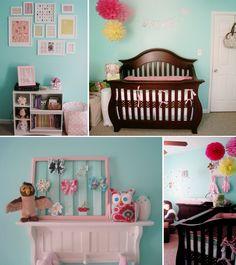 Ideas Baby Girl Nursery Room Ideas Dark Furniture Pom Poms For 2019 Owl Themed Nursery, Owl Nursery, Nursery Themes, Nursery Room, Nursery Decor, Nursery Ideas, Room Baby, Baby Rooms, Owl Themes