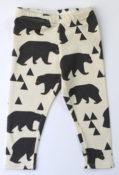 Salt City Emporium geometric bear children leggings, baby leggings, organic leggings, baby clothes, gender neutral baby clothes