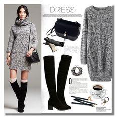 """long sleeves dress - grey"" by yexyka ❤ liked on Polyvore featuring moda, Bobbi Brown Cosmetics, CB2, Garance Doré, Lipsy, Sheinside, longsleevedress y shein"