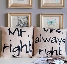 Throw pillows. Perfect Couple!