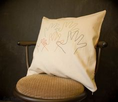 embroidered hand print pillow - MOTHER'S DAY GIFT IDEA!
