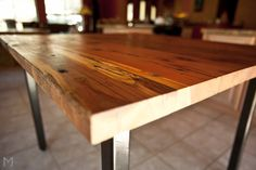 Square Redwood Dining Table // Steel Legs by MezWorks on Etsy