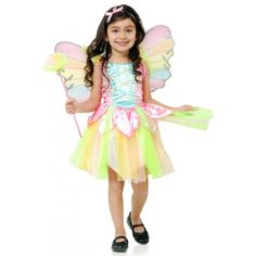 Get your little one fluttering around cloud nine with our Rainbow Fairy Costume! Add a splash of color to your ordinary fancy party! The set includes a colorful dress with layer skirt and fairy wings.