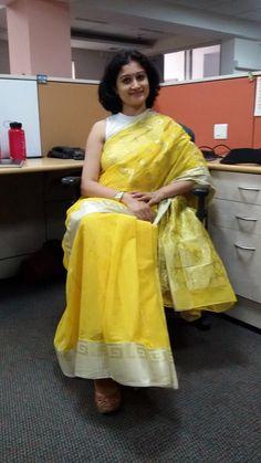 Sunshine Saree Indian Saree Click visit link above to read Formal Saree, Casual Saree, Cotton Saree Blouse, Cotton Saree Designs, Stylish Blouse Design, Saree Trends, Stylish Sarees, Blouse Neck Designs, Elegant Saree