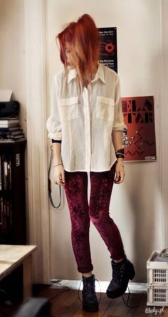 Velvet looks much more grunge when you add a long button-down and combat boots. Read more: http://www.gurl.com/2015/01/03/style-tips-on-how-to-wear-velvet-outfit-ideas/#ixzz3NyuYwy6G