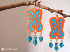 Paper Leaf | Colore Arabesque Moroccan Doors | paper earrings | cotton paper and glass beads