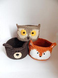 Small basket for woodland nursery decor and storage crochet fox bear owlet deer christmas gift basket woodland baby shower Crochet Fox, Hand Crochet, Crochet Owl Basket, Woodland Nursery Decor, Woodland Baby, Fox Nursery, Crochet Storage, Home Decor Baskets, Crochet Home Decor