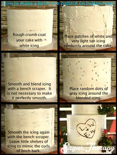 Birch bark on buttercream tutorial by Sugar Therapy. Birch bark on buttercream tutorial by Sugar The Cake Icing, Eat Cake, Cupcake Cakes, 3d Cakes, Cupcake Ideas, Cake Decorating Techniques, Cake Decorating Tutorials, Birch Wedding Cakes, Birch Tree Cakes