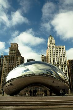 """The Bean, Chicago. Where Tris and Caleb spoke near Erudite headquarters... Divergent. Repinning this picture, in particular, for ^ that comment. Apparently """"The Bean"""" has more fingerprints on it than the FBI has in its database. I have some cool pictures of this somewhere, but they're not digital."""