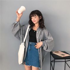 korea fashion Single Breasted Loose Plaid Shirt To - K Fashion, Korean Fashion Dress, Korean Fashion Kpop, Korea Fashion, Korean Outfits, Japanese Fashion, Asian Fashion, Fashion Outfits, Fashion Trends