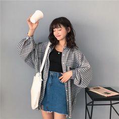korea fashion Single Breasted Loose Plaid Shirt To - Korean Girl Fashion, Korean Fashion Trends, Korea Fashion, Ulzzang Fashion Summer, Korean Fashion Summer, Japanese Fashion Street Casual, Korean Summer Outfits, Fashion Men, Korean Fashion Casual