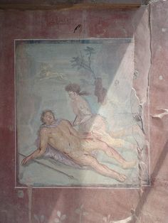Pompeii, Fresco on the wall of the brothel