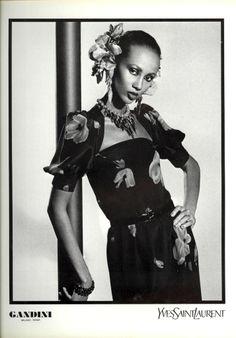 1980 - Yves Saint Laurent Couture adv - Iman by David Bailey Fashion Poses, 80s Fashion, Fashion History, Fashion Brands, Yves Saint Laurent, Vintage Ysl, Vintage Fashion, Supermodel Iman, Iman Model