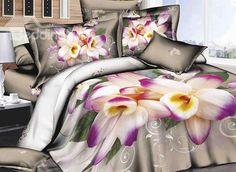 #beddinginn #reviews Skincare Fragrant Flower Print 4-Piece Cotton Duvet Cover Sets