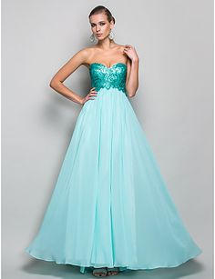 Formal Evening/Prom/Military Ball Dress - Pool A-line/Princess Strapless/Sweetheart Floor-length Chiffon/Sequined – USD $ 119.99