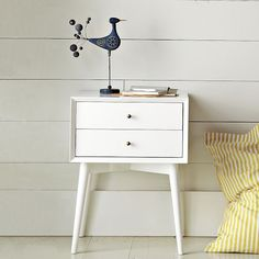 mid-century modern nightstand in white. i like the idea of pairing your rustic wood headboard with a clean white, modern nightstand and dresser. we could just paint your pre-existing dresser and add industrial/metal drawer pulls.