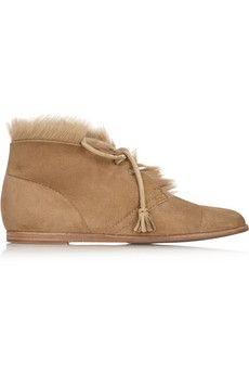 Pedro Garcia Yurena goat hair-trimmed suede ankle boots | NET-A-PORTER