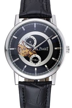 Mens Replica Piaget Altiplano Chronograph Black Dial Silver Stainless Steel Case Watch With Black Leather Bracelet