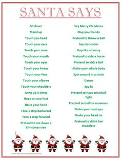 "FREE ""Santa Says"" game. Simon says with a Christmas spin! Perfect for school holiday classroom parties."