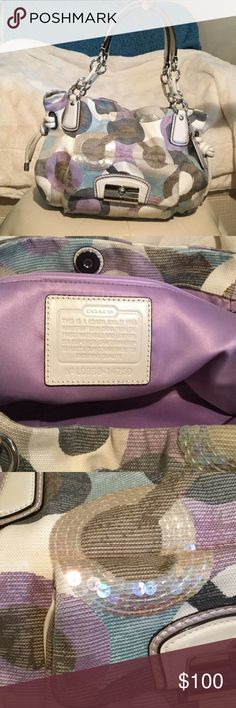 Coach Satchel Coach Satchel with sequence on it.  In great shape and hardly used. Coach Bags Satchels